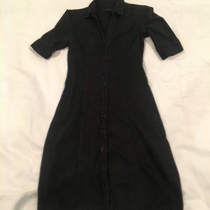 H&M black button up midi dress size medium